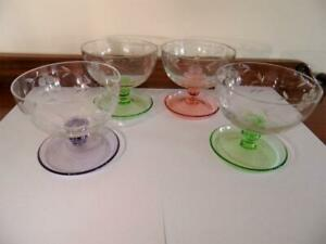 Set x 4  Vintage Retro Coloured Harlequin Glass Grape Vine Footed Dessert Bowls