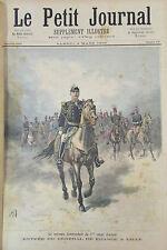ENTREE DU GENERAL DE FRANCE à LILLE MILITAIRES CHEVAL GRAVURE PETIT JOURNAL 1893