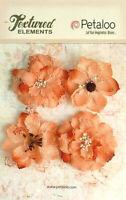 Burlap Flowers 4 x APRICOT Approx 55-60mm across & varied centres Petaloo BUR E