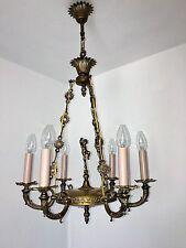 Antik Deckenlampe Kronleuchter Engel Putte Deckenleuchte 6 flammig