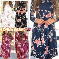 UK Women Flower Print Swing Dress Autumn Long Sleeve Fitted Waist Skater Dresses