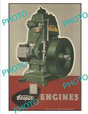 OLD LARGE HISTORIC SUNBEAM COOPER ENGINES ADVERTISING POSTER c1950s 1