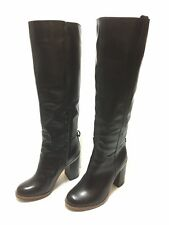 """Aldo Knee-High Black Leather Boot With Brown Accent 3.25"""" Inch Heel EUC Size 6"""