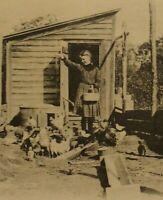 1906 Antique Feeding Chickens Spring Valley Brooklyn Long Island NY Vtg Postcard