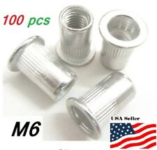 M6 6mm Flat Head Aluminum Rivet Nut rivnut Insert Nut Pack Of 100