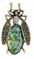 Bee Large with Abalone Body & Crystals Gold Pin Brooch D-1380