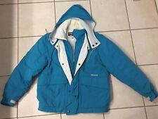 Vintage Nevica Skiwear Ski Jacket Aqua Blue Off White Hidden Hood England 34