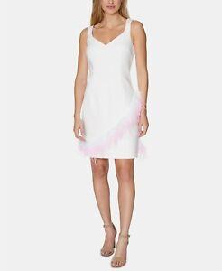 Laundry By Shelli Segal Women's Feather-Trim Sheath Dress, White, 12