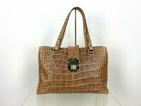 Etro Runway Auth Large Brown Beige Leather Tote Hand Bag Purse Travel