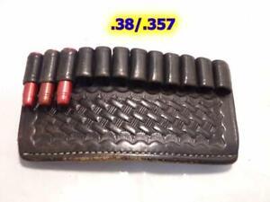 Vintage BIANCHI Black Basketweave Leather 12 Bullet Ammo Carrier .38/.357