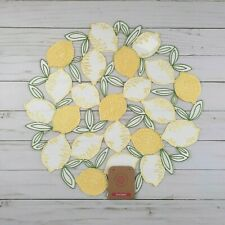Placemat Centerpiece Embroidered Lemons 15 Inch Round