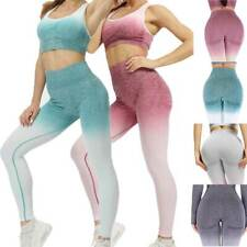 Women Yoga Set Gym Pants Ombre Seamless Leggings Sports Bra Running Workout Suit