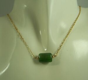 Canadian Nephrite Jade Necklace 14kt GF Chain and Components, Focal Bead