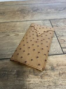 Silver Creek Western Mens Wallet Leather Rodeo Ostrich Print Peanut 06237