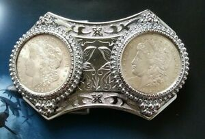 Double 1921 Morgan Dollar Coin Belt Buckle