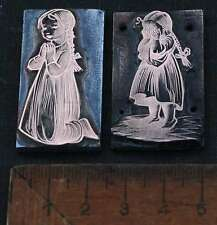 MÄDCHEN  2 x Galvano Druckplatte Klischee Eichenberg printing plate copper