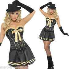 Costumi e travestimenti nero per carnevale e teatro da donna, con soggetto un gangster