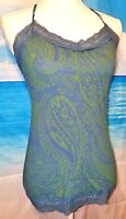 EYESHADOW Vintage Soft Comfortable Summer Blue and Green Cami Tank Top Size Med