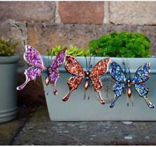 Large Butterfly metal glitter garden hanging pot decoration sparkling handmade