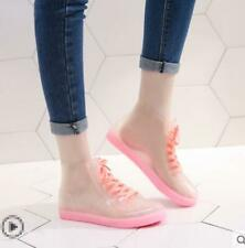 Women's Round Toe Transparent Ankle Boots Lace Up Rain Shoes Waterproof  Flat