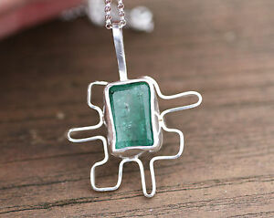 Natural Emerald Pendant Puzzle Piece Solid Sterling Silver 20th Anniversary