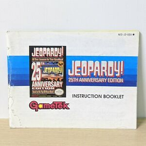 Jeopardy 25th Anniversary NES Nintendo Original Instruction Booklet Manual