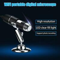 1000X Wifi Microscope USB Inspection Camera 8 LED Digital Microscope with Stand for Android IOS