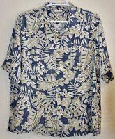 Breakwater Mens XL Blue Beige Floral Short Sleeve Button Down Shirt Hawaiian VGC