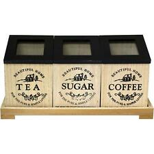 Wooden Tea/Coffee/Sugar 3 Compartment Canisters Bags Spices Storage Tray Set