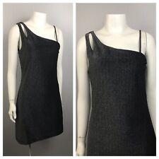1990s Party Dress / Metallic One shoulder Sleeveless Short Dress / Women's M/L