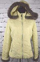 Cabi Women's Khaki Hooded Quilted Faux Fur Full Zip Up Jacket Coat Size Medium M