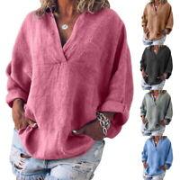 Mode  Femmes été Lârge Chemisers à Manches Longues V Col Coton Hauts Shirts SP