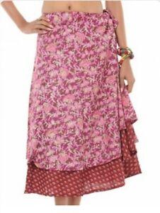 Rajrang Multi Color Sarong Floral Printed Casual Western Wear summer skirt, Pink