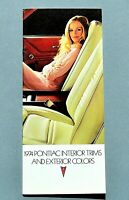 ORIGINAL 1974 PONTIAC INTERIOR TRIMS & COLOR CHARTS ~ 28 PANELS ~ 74PONCOLOR