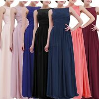 Women's Long Chiffon Lace Evening Formal Party Ball Gown Prom Bridesmaid Dress