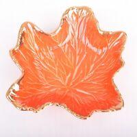 Vintage USA Orange Drip Glaze Leaf Bowl