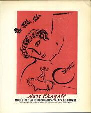1959 Mini Poster Lithograph ORIGINAL Print Marc Chagall Palais Du Louvre