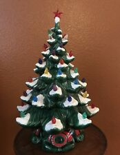 "1970's Vintage Atlantic Mold Ceramic Flocked Christmas Tree 17"" Lights ORIGINAL"