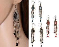 Women's Retro Antique Bronze Leaves Drop Dangle Long Earrings Jewelry  Fashion