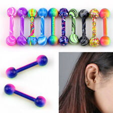 10X Stainless Steel Barbell Ear Stud Tragus Cartilage Helix Earrings Piercing 0c