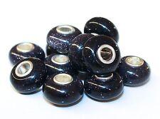 Blaufluss Synth. Lavaglas 925 Sterling Silber Bead Beads Donut Edelsteine Charme