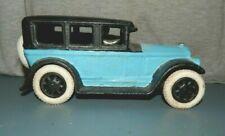 "1932 BUICK SEDAN Rubber Tires Cast Iron 8"" Long Blue/Black Good! Shelf Model Toy"