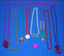 8 New Orleans Vintage Emblem Mardi Gras Beads #2 + Bonus Willie Nelson Doubloon