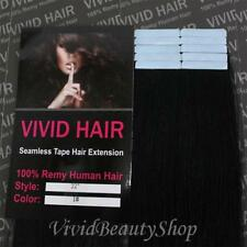 10pcs 22 inches Remy Seamless Tape Skin Weft Human Hair Extensions Jet Black #1