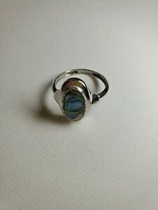 Vintage Avon Abalone Ring Silver Tone Oval Size 9 1/2