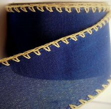 """2-Yds,2.5"""" Navy-Blue,Brown JUTE Stitching,Cotton-Look Polyester,Wire Edge Ribbon"""