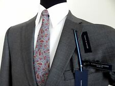 TOMMY HILFIGER GRAY WEAVE 100% WOOL MENS TRIM FIT SUIT 48R 43W NATHAN A80021