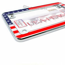 USA American Flag Chrome License Plate Frame for Motorcycle/Scooter/Chopper/Bike