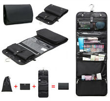 Men Foldable Black Toiletry Garment Bag Travel Hanging Hook Organizer Kit 3 in 1