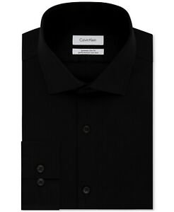 Calvin Klein Mens Extra-Slim Fit Solid Dress Shirt Black Size 13.5 32/33 NEW $85